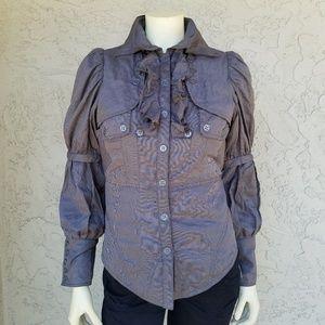 Style Pinstripe Mutton Sleeve Ruffle Shirt Jacket